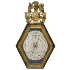 18th Century French Louis XVI Carved Gilt and Painted Wall Barometer