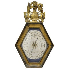 18th Century French Louis XVI Carved Giltwood and Painted Wall Barometer