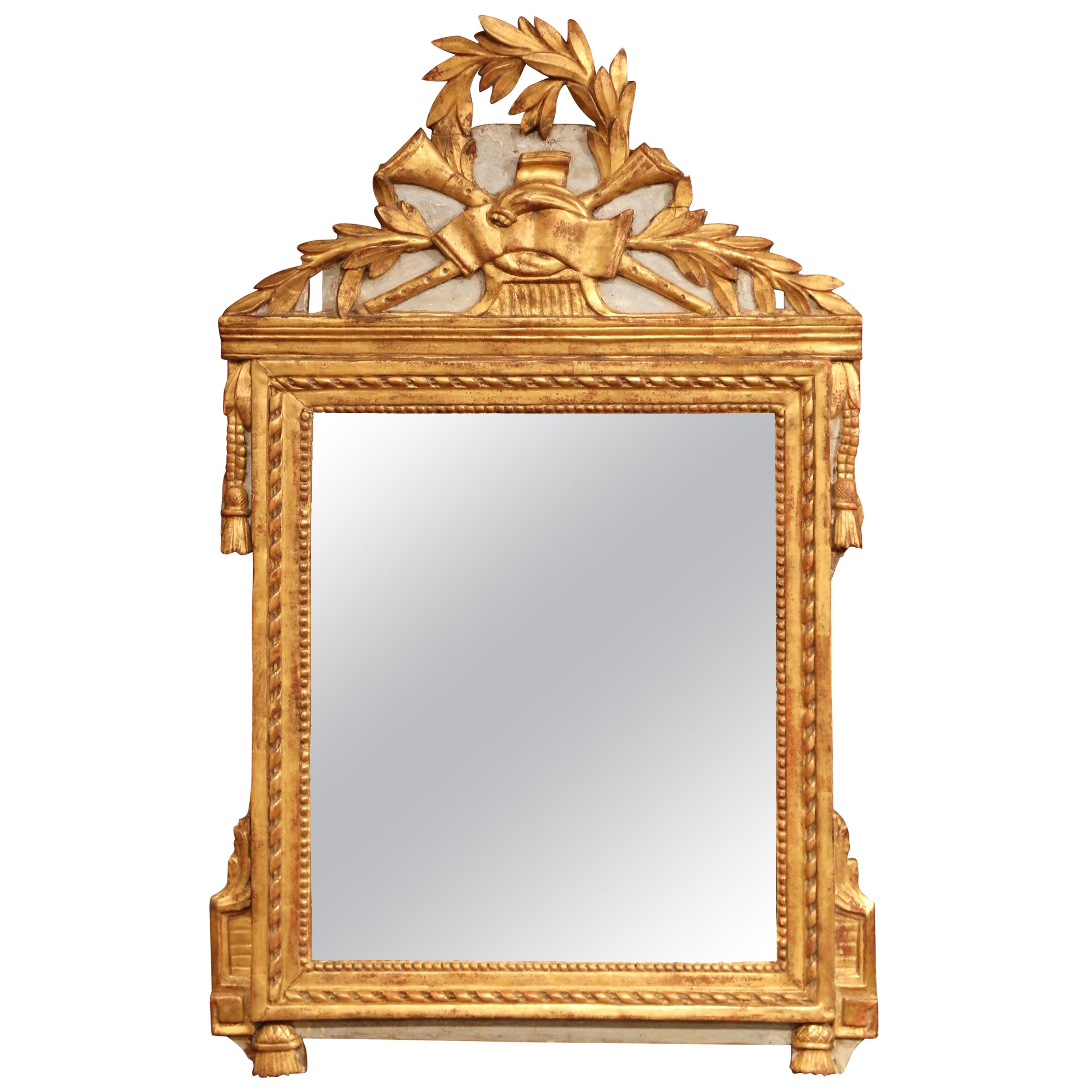 18th Century French Louis XVI Carved Giltwood Wall Mirror from Provence