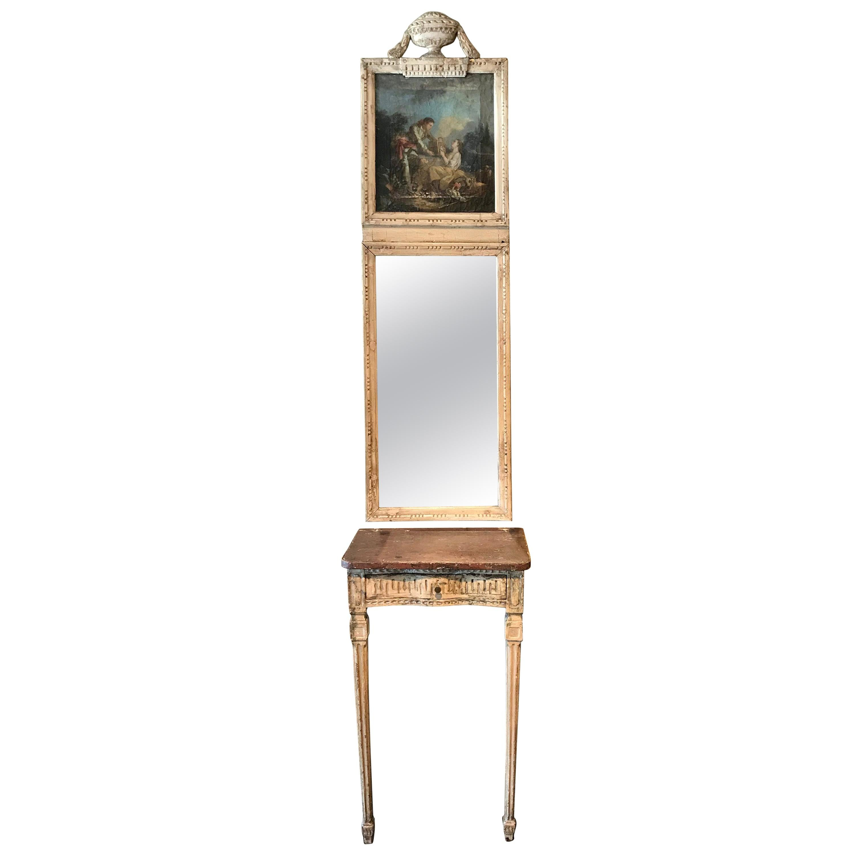 18th Century French Louis XVI Carved Painted Console and Matching Trumeau Mirror