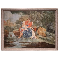 18th Century French Louis XVI Courting Scene Painting in Carved Painted Frame