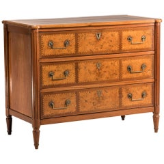 18th Century French Louis XVI Elm, Walnut and Mahogany Wood Chest of Drawers