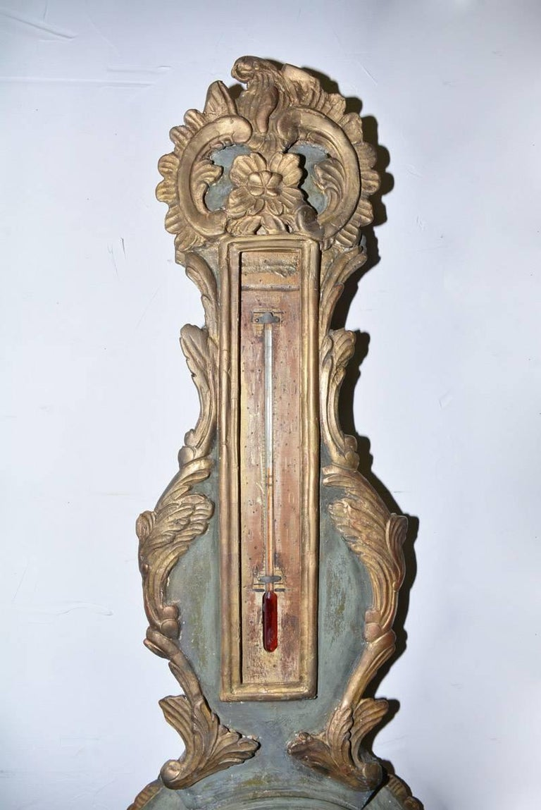 Late 18th Century 18th Century French Louis XVI Giltwood Barometer For Sale