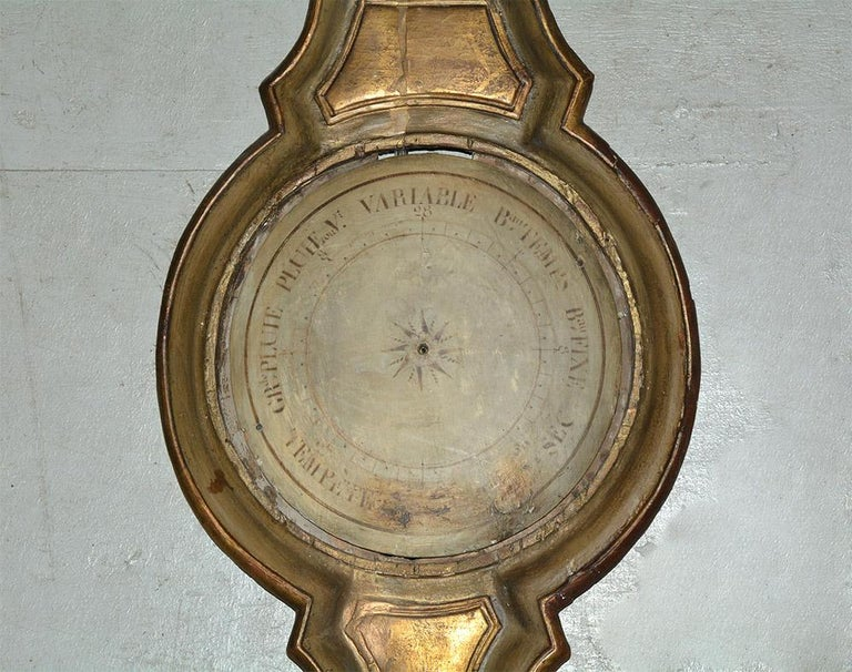 Wood 18th Century French Louis XVI Giltwood Barometer For Sale