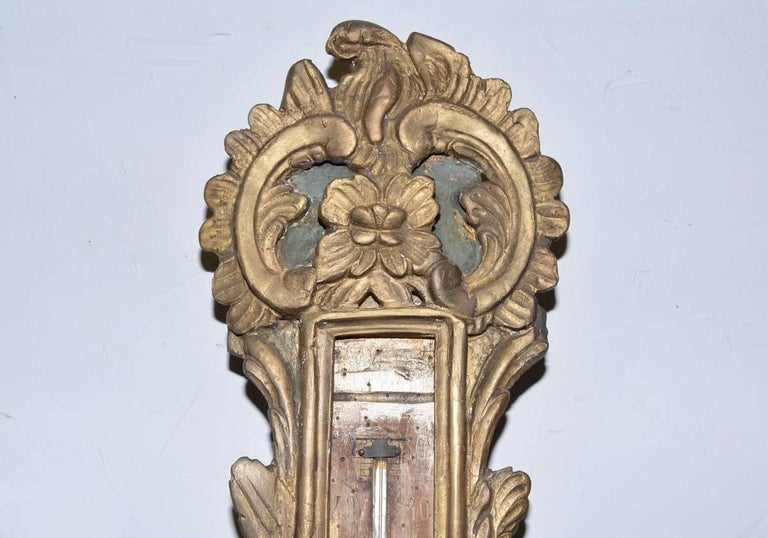 18th Century French Louis XVI Giltwood Barometer For Sale 1