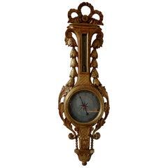 18th Century French Louis XVI Giltwood Barometer