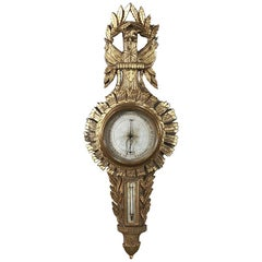 18th Century French Louis XVI Giltwood Barometer, Thermometer