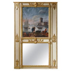 18th Century French Louis XVI Giltwood Painted Trumeau Wall Mirror
