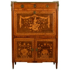 18th Century, French Louis XVI Inlaid Wood Secretaire with Marble Top