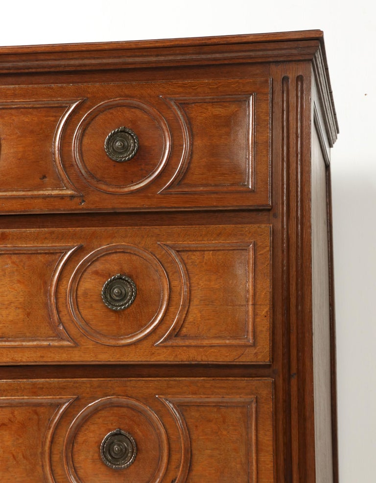 18th Century French Louis XVI Oak Commode Chest of Drawers For Sale 8