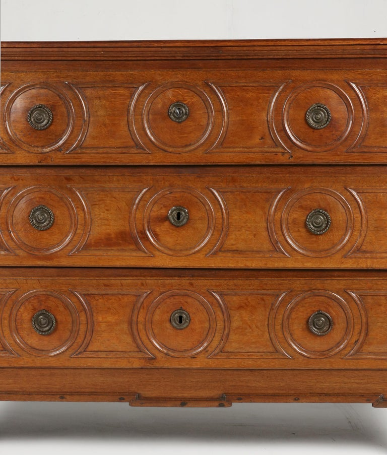 Hand-Crafted 18th Century French Louis XVI Oak Commode Chest of Drawers For Sale
