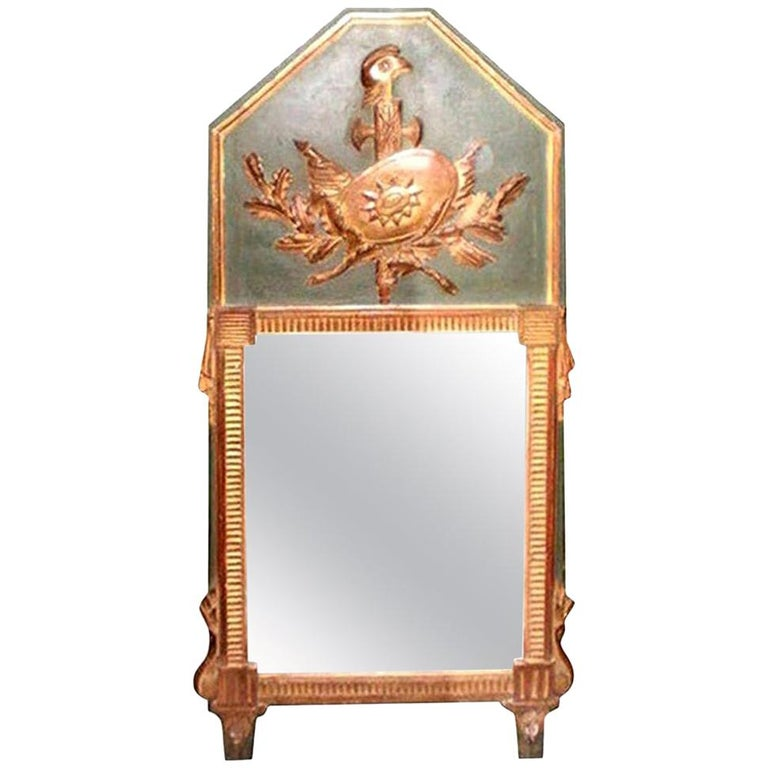 18th Century French Louis XVI Painted and Giltwood Trumeau Armorial Mirror For Sale
