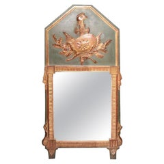 18th Century French Louis XVI Painted and Giltwood Trumeau Mirror