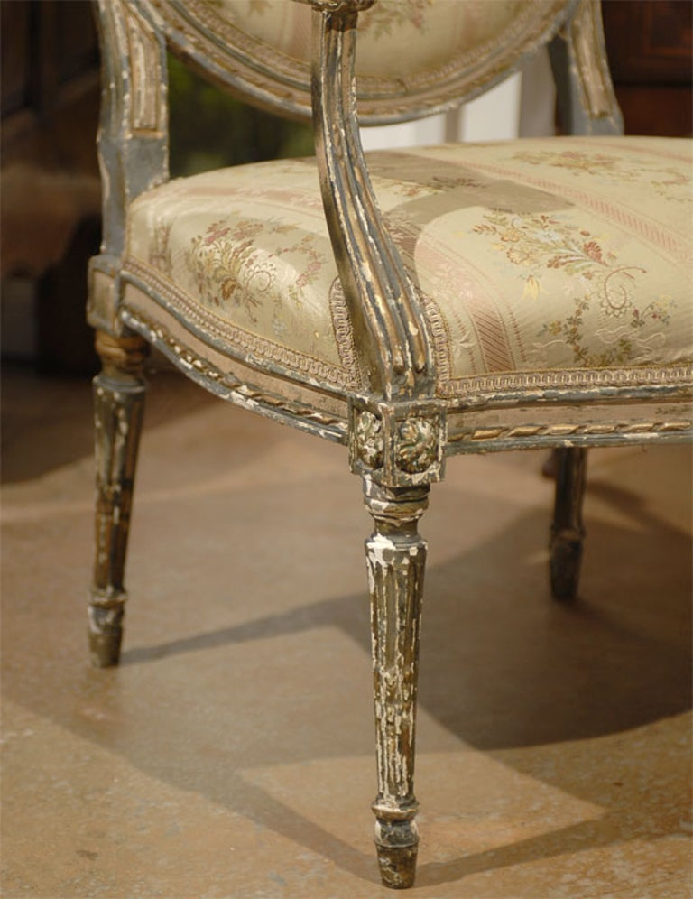 French Louis XVI Period Late 18th Century Painted and Carved Wooden Fauteuil In Good Condition For Sale In Atlanta, GA