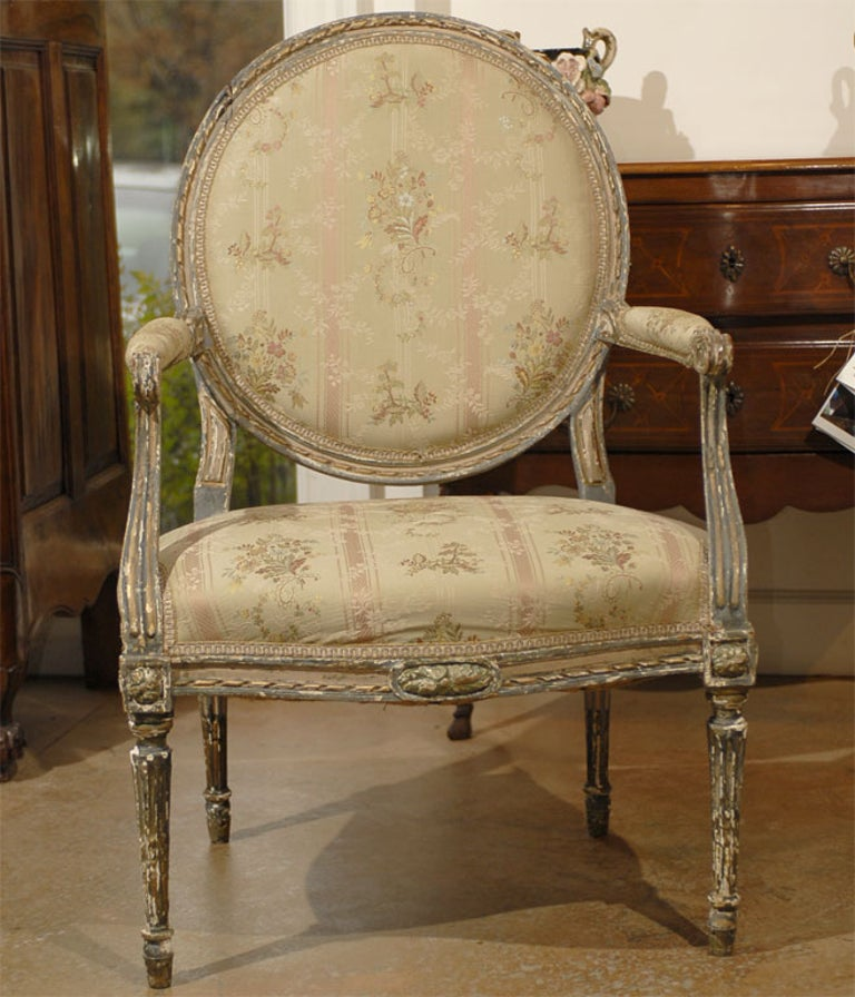 Upholstery French Louis XVI Period Late 18th Century Painted and Carved Wooden Fauteuil For Sale