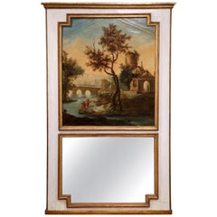 18th Century French Louis XVI Painted Trumeau Mirror from Provence