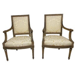 18th Century French Louis XVI Pair of Armchairs