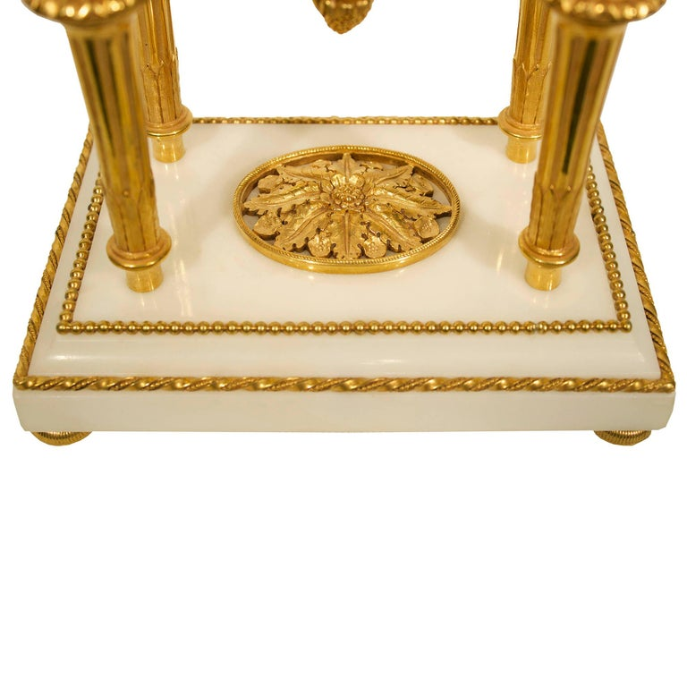 18th Century French Louis XVI Period Carrara Marble and Ormolu Garniture Set For Sale 4