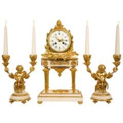 18th Century French Louis XVI Period Carrara Marble and Ormolu Garniture Set