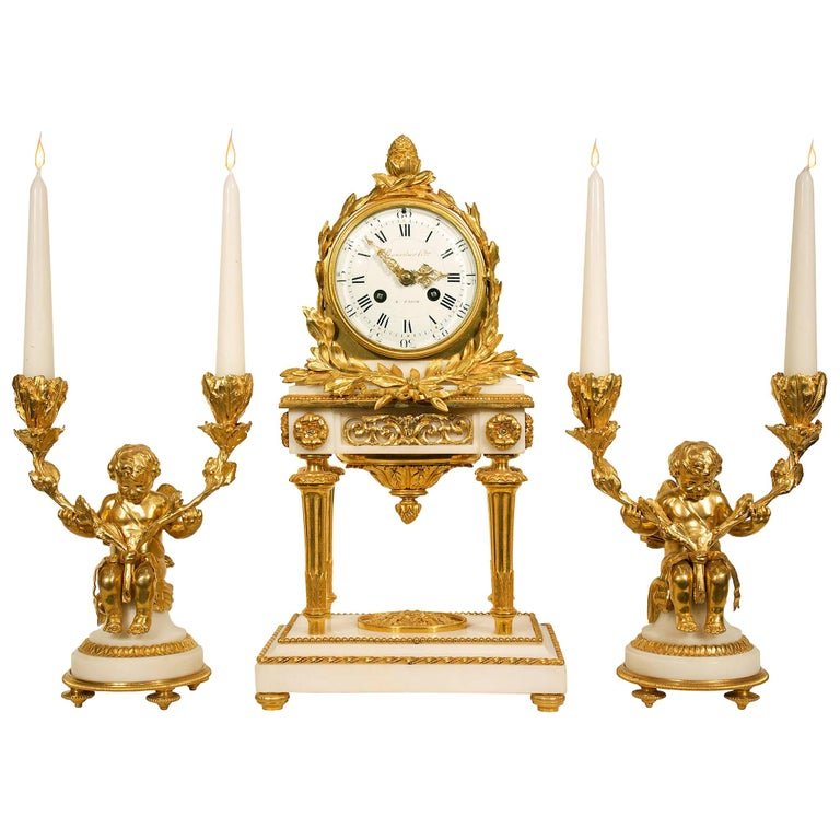18th Century French Louis XVI Period Carrara Marble and Ormolu Garniture Set For Sale