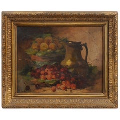 18th Century French Louis XVI Period Oil on Canvas Still-Life Frame Painting