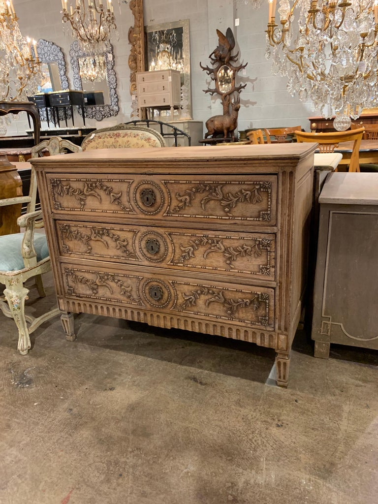 18th Century French Louis XVI Style Carved and Bleached Chest For Sale 3