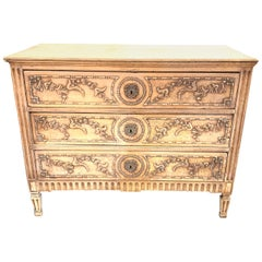 18th Century French Louis XVI Style Carved and Bleached Chest