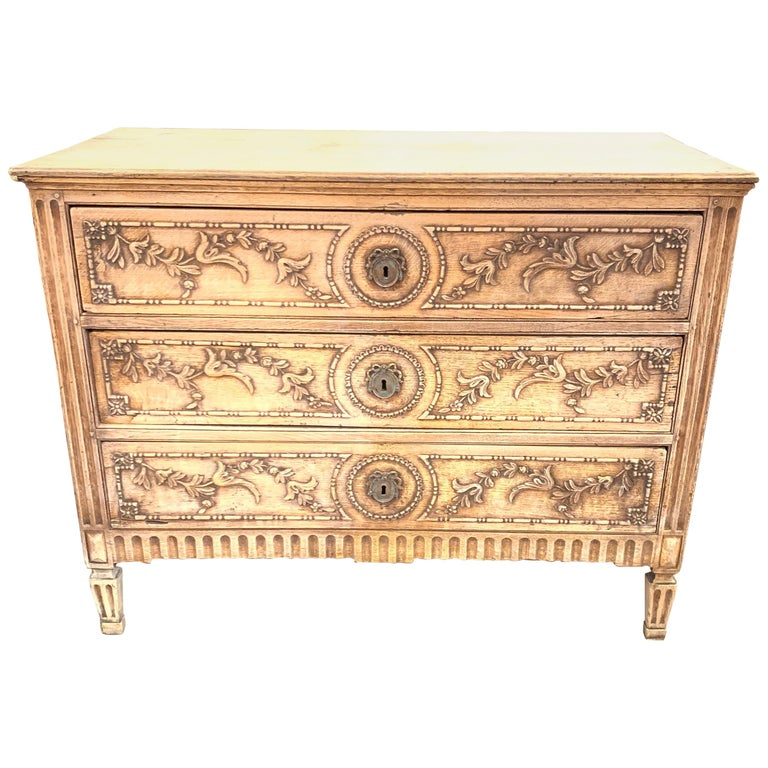 18th Century French Louis XVI Style Carved and Bleached Chest For Sale