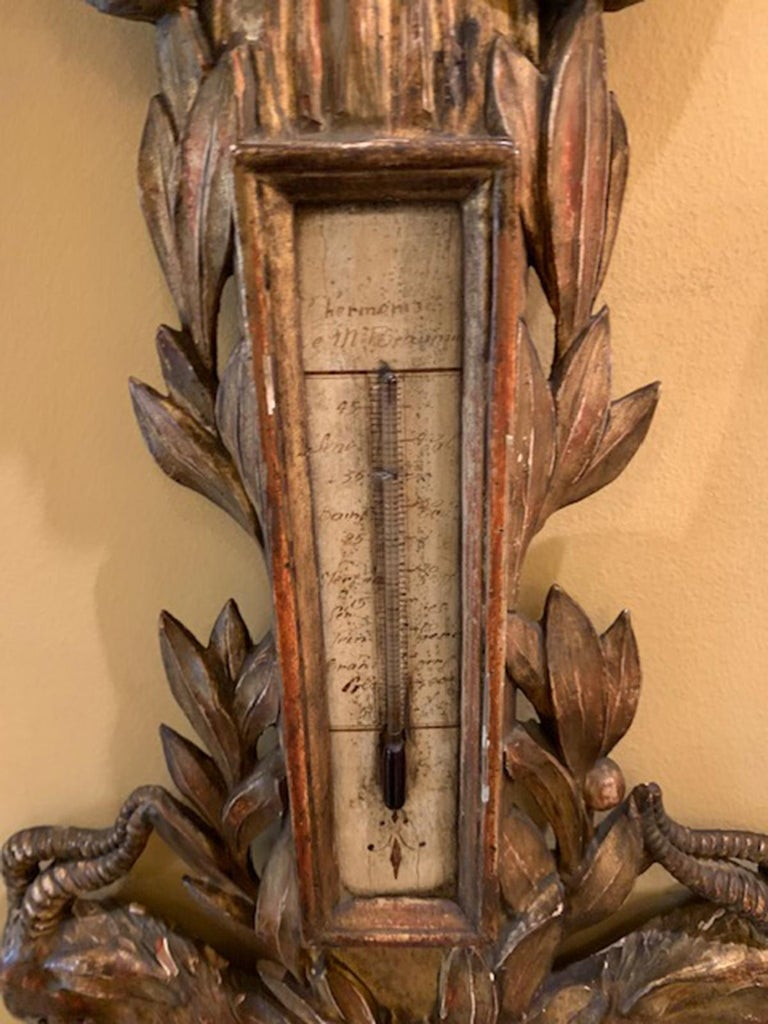 18th Century French Louis XVI Style Carved Giltwood Barometer For Sale 2