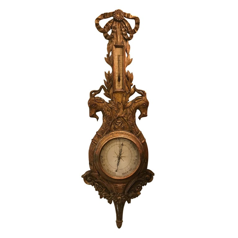 18th Century French Louis XVI Style Carved Giltwood Barometer For Sale