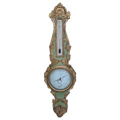 18th Century French Louis XVI Style Gilt and Green Painted Barometer