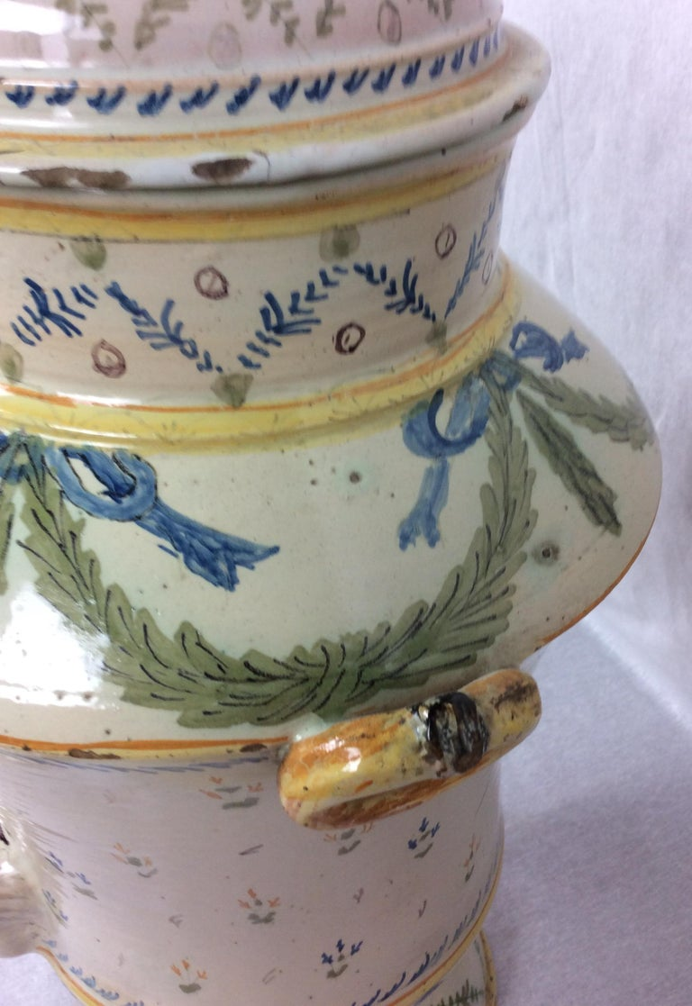 18th Century and Earlier 18th Century French Louis XVI Style Provencal Ceramic Centerpiece For Sale