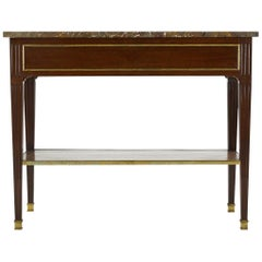 18th Century Marble-Top French Mahogany Console with Brass Inlay