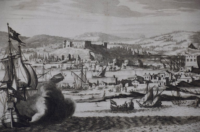 Engraved 18th Century French Map and City View of Joppe/Jaffa 'Tel Aviv' by Sanson For Sale