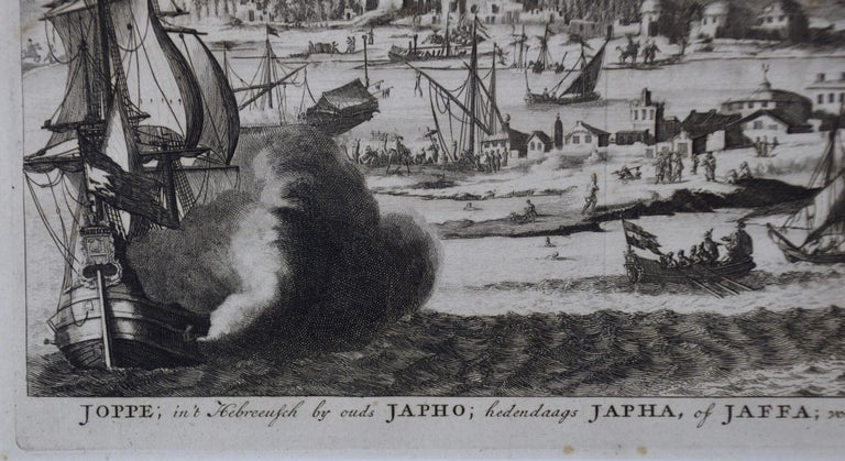 18th Century French Map and City View of Joppe/Jaffa 'Tel Aviv' by Sanson In Good Condition For Sale In Alamo, CA