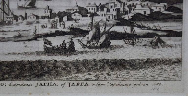 Paper 18th Century French Map and City View of Joppe/Jaffa 'Tel Aviv' by Sanson For Sale