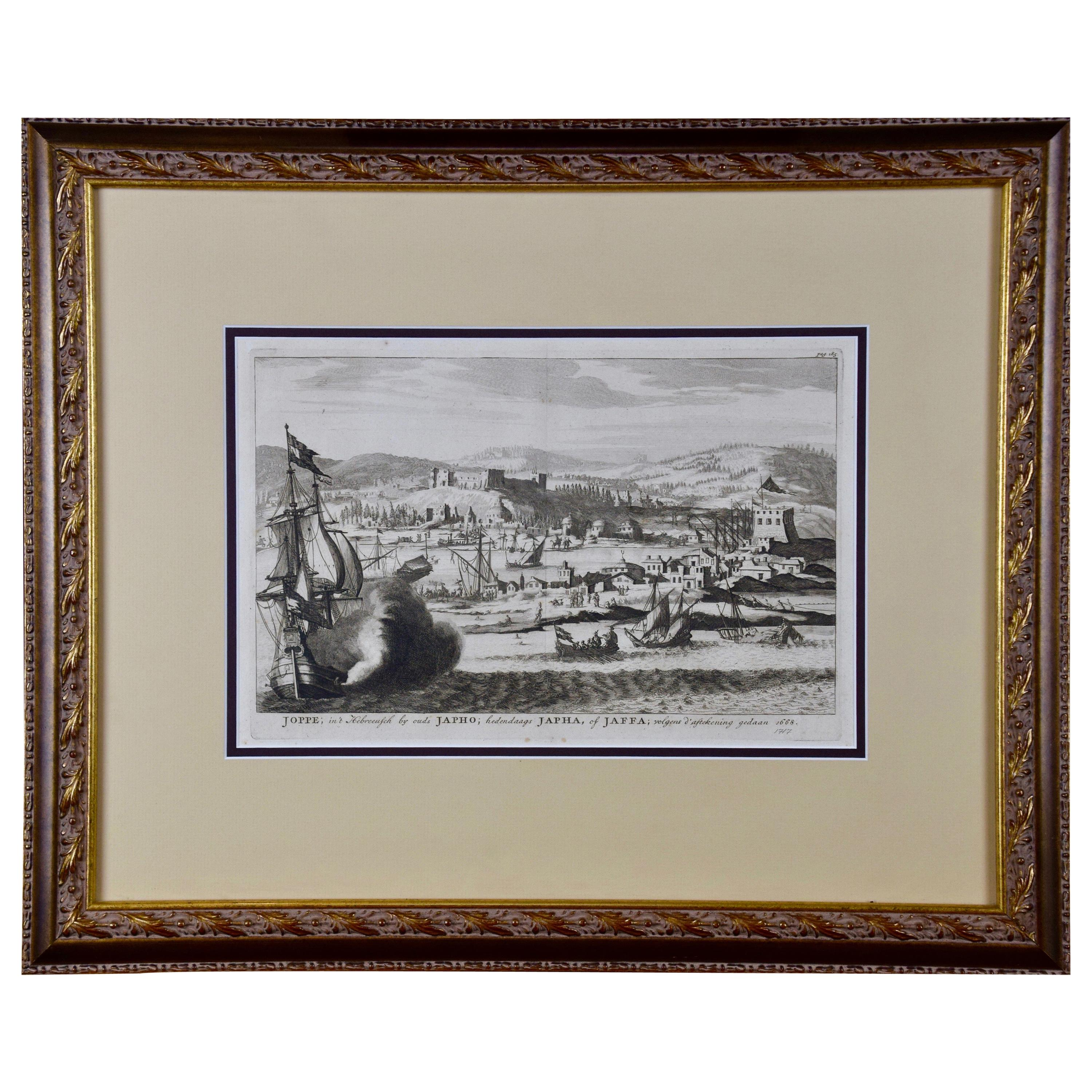 18th Century French Map and City View of Joppe/Jaffa 'Tel Aviv' by Sanson