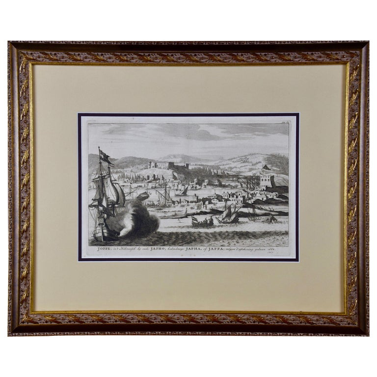 18th Century French Map and City View of Joppe/Jaffa 'Tel Aviv' by Sanson For Sale