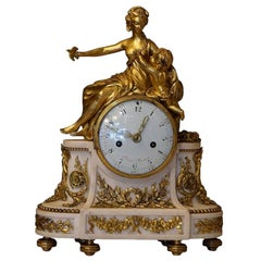 18th Century French Marble, Gilded Bronze Clock by Jean-Baptiste-André Furet