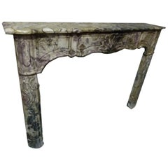 18th Century French Louis XV Style  Marble Fire Place Mantel