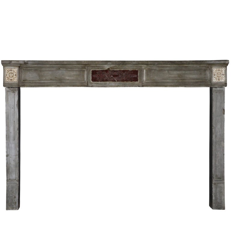 18th Century French Marble Stone Antique Fireplace Mantel For Sale