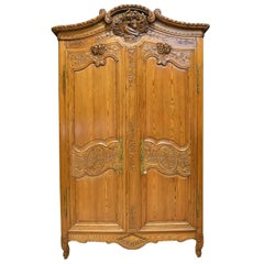 18th Century French Marriage Armoire in Pitch Pine from Normandy