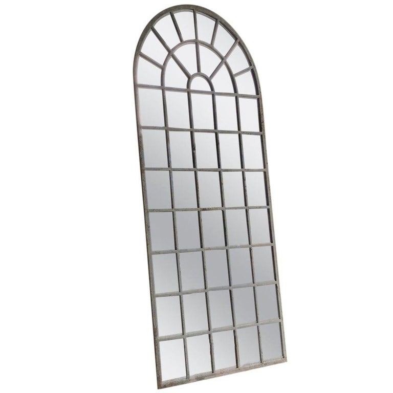 Renaissance Revival 18th Century French Metal, Cast Iron Orangerie Wall Mirror For Sale