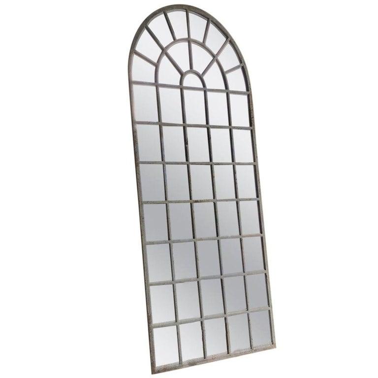 European 18th Century French Metal, Cast Iron Orangerie Wall Mirror For Sale