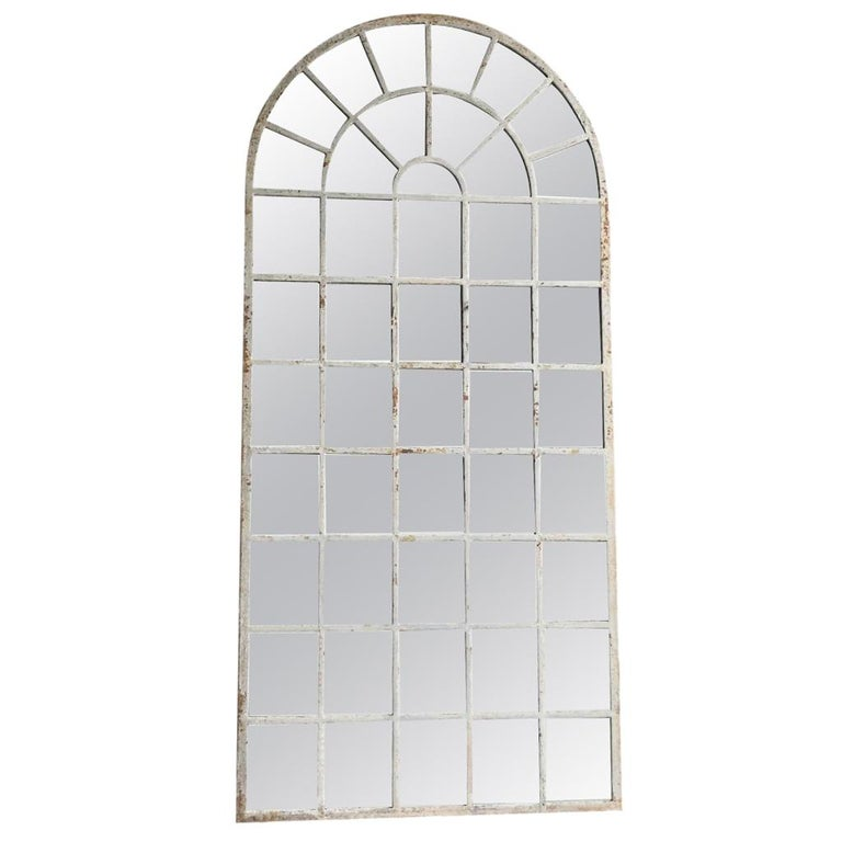 18th Century French Metal, Cast Iron Orangerie Wall Mirror For Sale