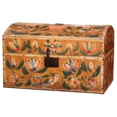 18th Century French Normand Painted Wedding Box with Bird and Floral Motifs