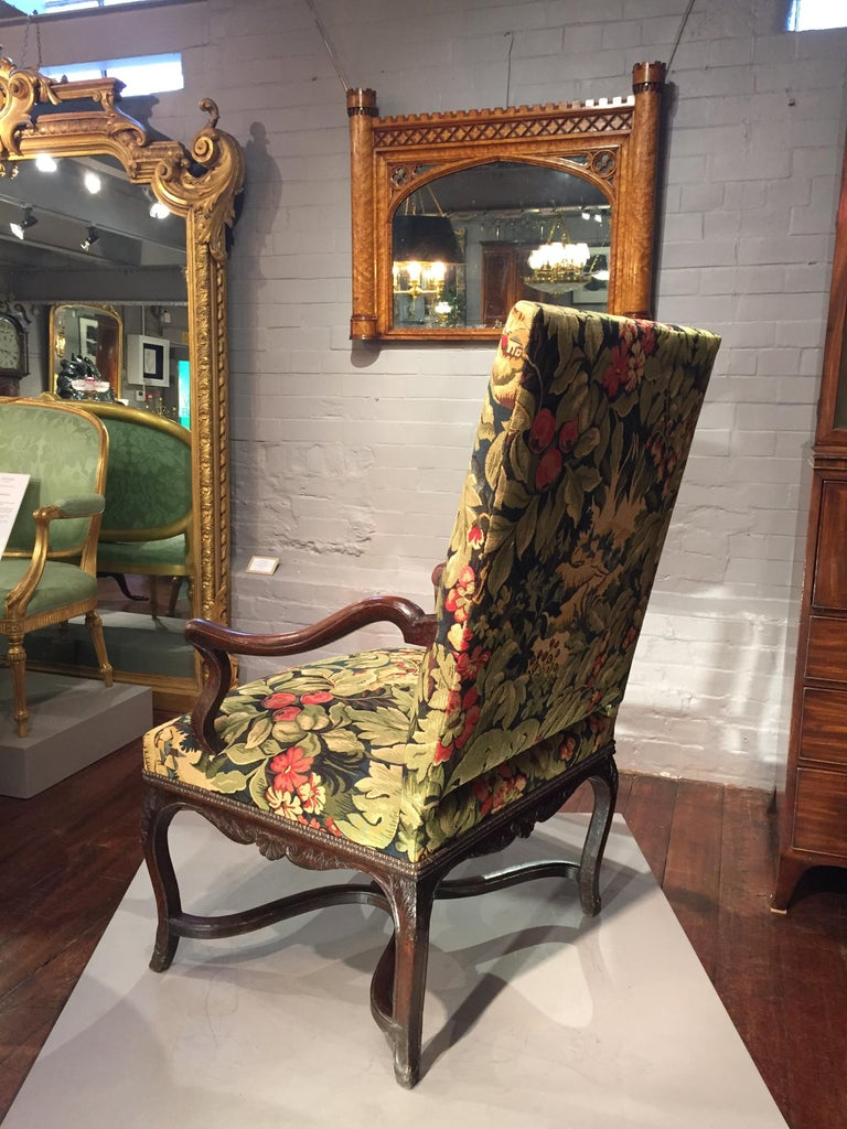 18th Century French Oak and Upholstered High Back Open Armchair For Sale 4