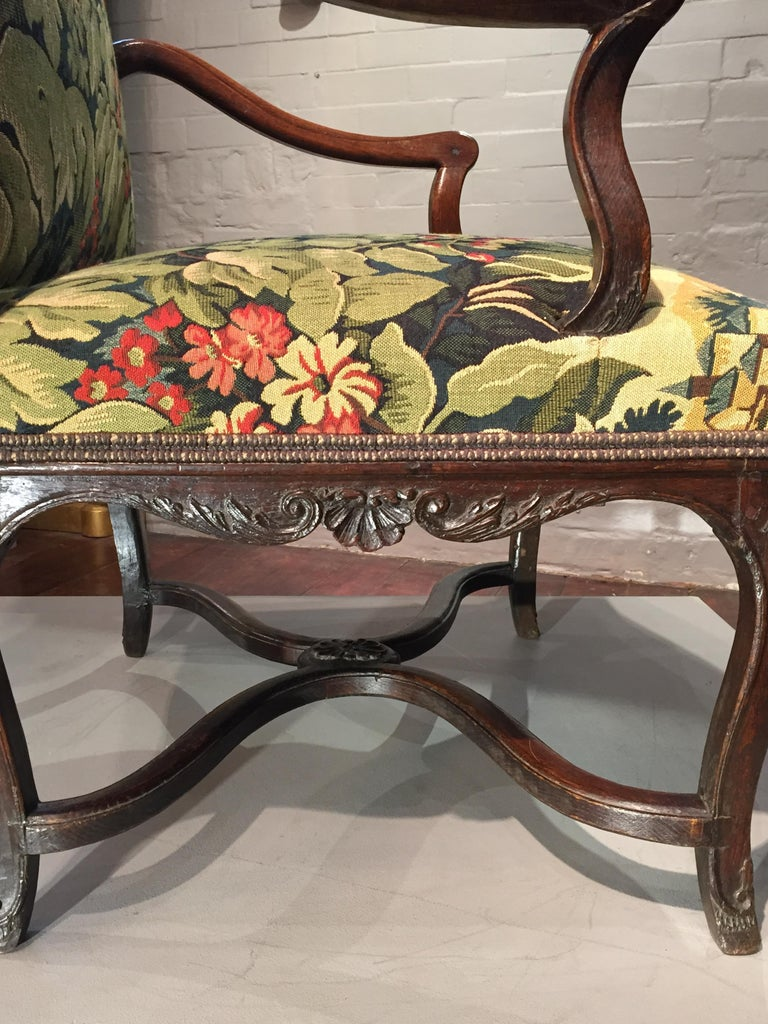 18th Century French Oak and Upholstered High Back Open Armchair For Sale 6