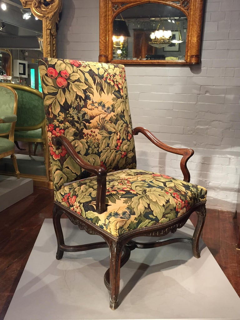 French Provincial 18th Century French Oak and Upholstered High Back Open Armchair For Sale