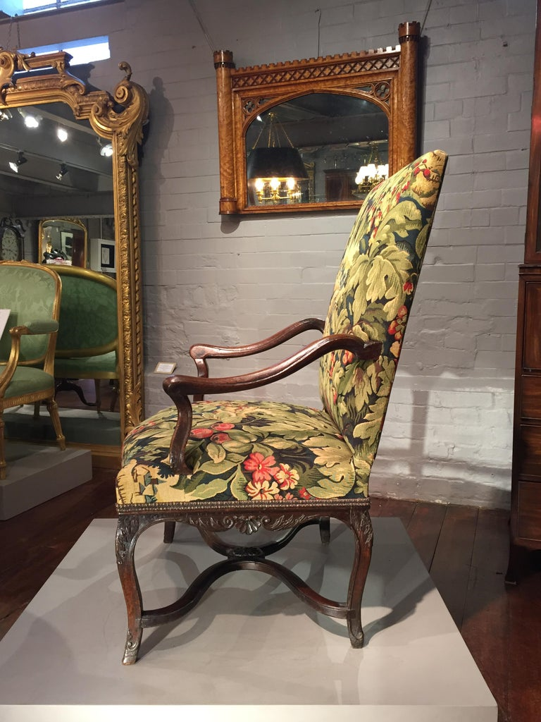 18th Century French Oak and Upholstered High Back Open Armchair In Good Condition For Sale In London, GB